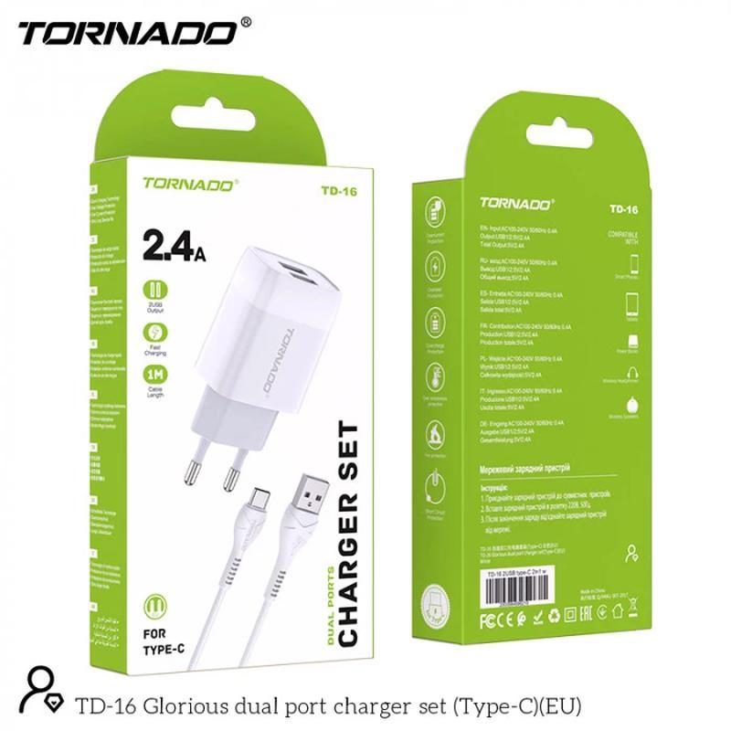 Сетевое зарядное устройство Tornado TD-16 (2USB/2.4A/1м) + USB...