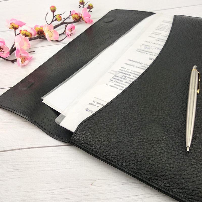 Папка-конверт для документов кожаная - Фото 3