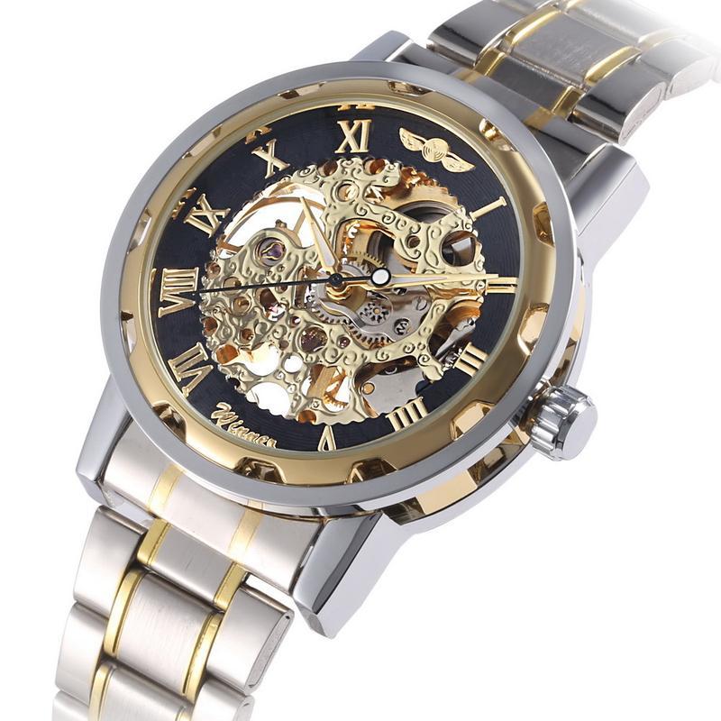 Механические часы - WINNER Simple Skeleton - Стальной браслет !