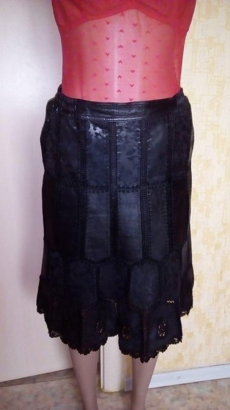 Красивая юбка из 100 %  мягенькой кожи с лазеркой/юбка кожаная... - Фото 3