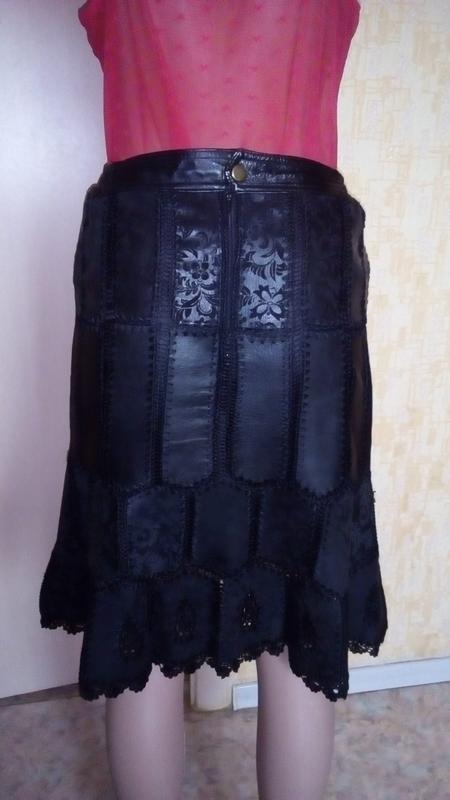 Красивая юбка из 100 %  мягенькой кожи с лазеркой/юбка кожаная... - Фото 5