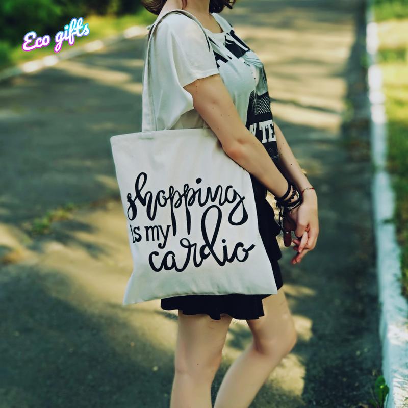 """Сумка-шопер из хлопка """"Shopping is my cardio"""""""