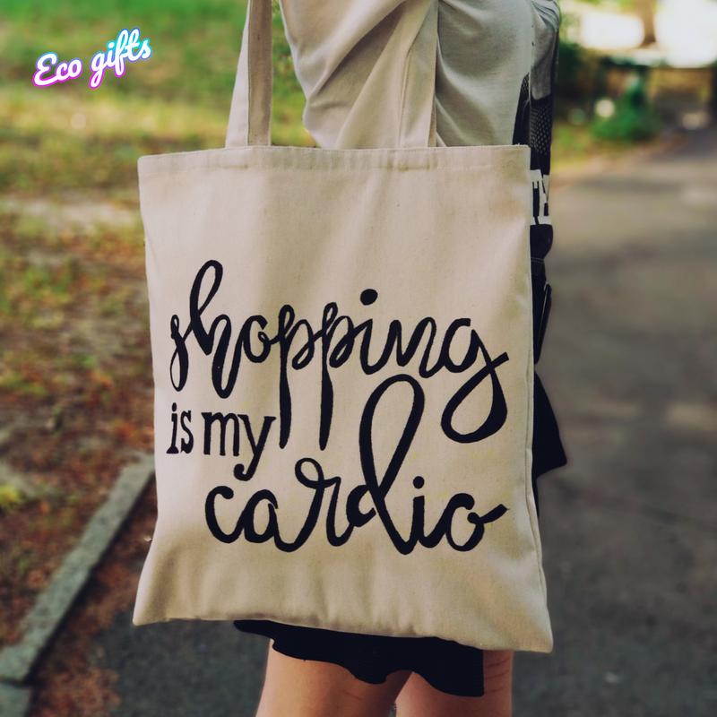 """Сумка-шопер из хлопка """"Shopping is my cardio"""" - Фото 2"""