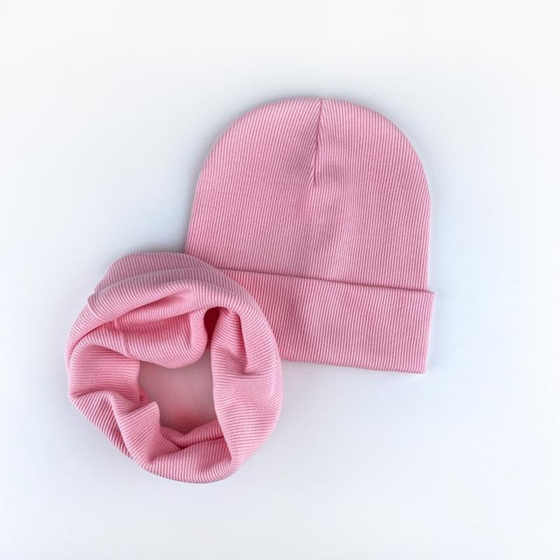 Шапка розовая трикотаж рубчик ???? комплект набор шапка хомут ???? т...