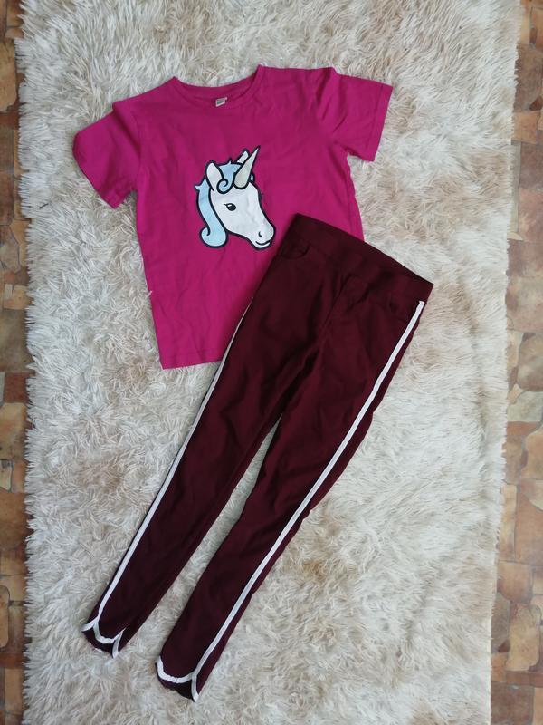 Стильный комплект костюм джегинсы лосины штаны футболка кофта ...