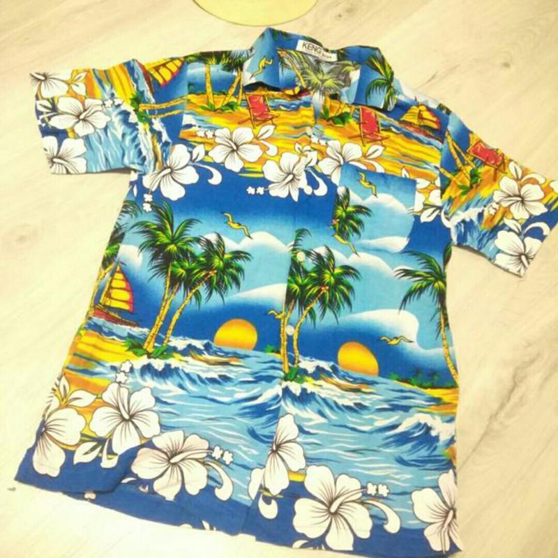 Летняя рубашка в гавайском стиле. пляжная рубашка.