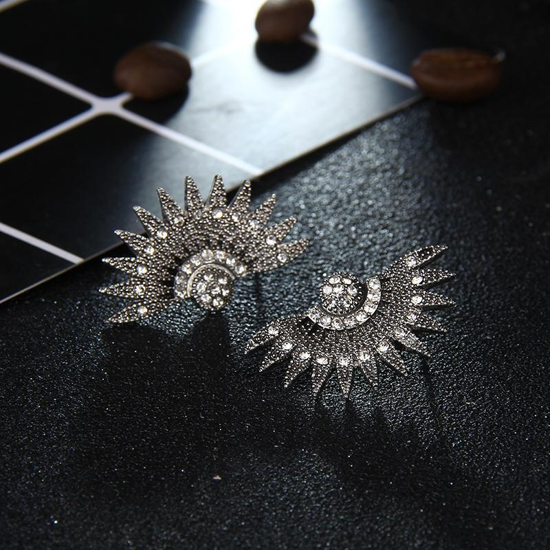 Стильные серьги крылья полумесяц перья камни - Фото 3