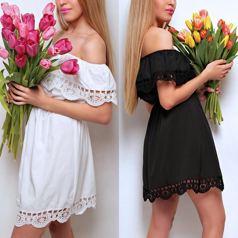 Женское платья - сарафан с кружевом из хлопка