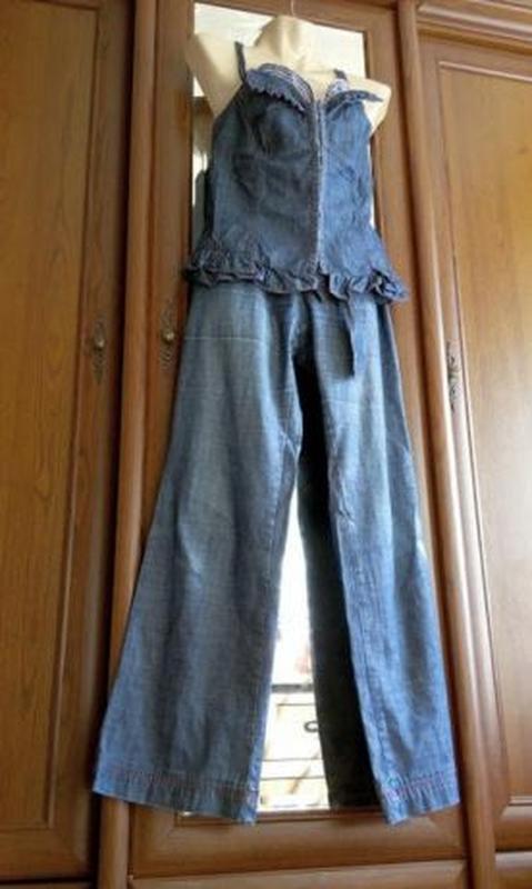 Джинсовый комплект костюм корсет топ майка и брюки stefanel - Фото 2