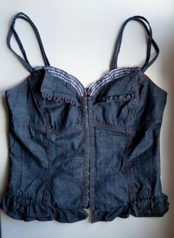 Джинсовый комплект костюм корсет топ майка и брюки stefanel - Фото 4