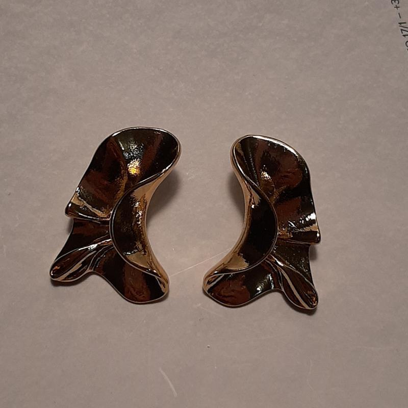 Серьги мятые, цвет золото - Фото 2
