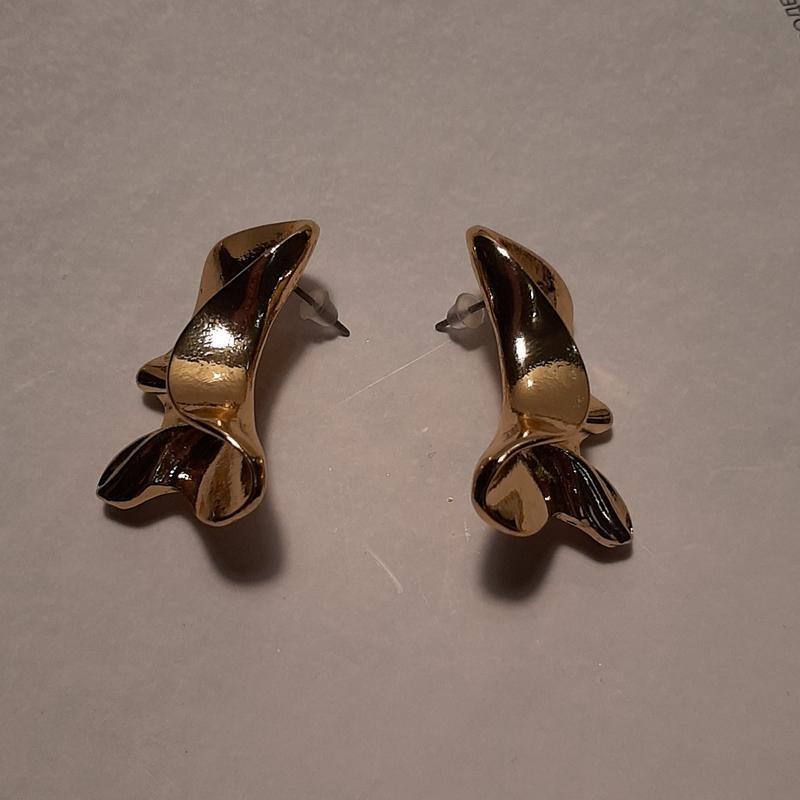 Серьги мятые, цвет золото - Фото 5