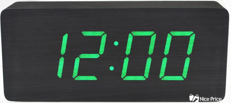 Часы VST 865 черное дерево (зеленая подсветка) (3789)