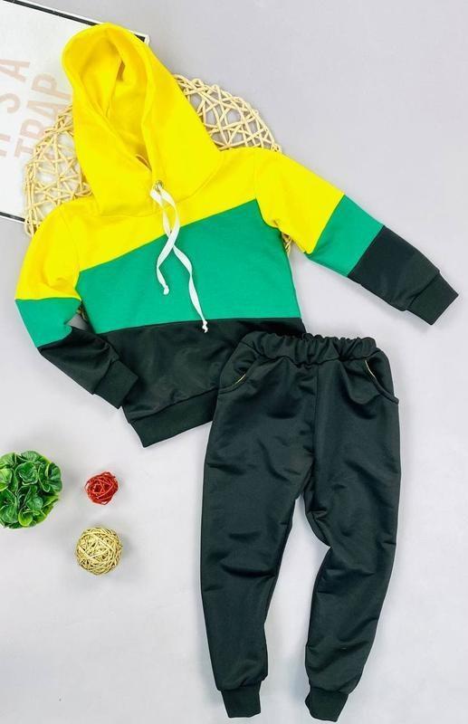 Спортивный костюм двойка для мальчика, зеленый спортивный кост...
