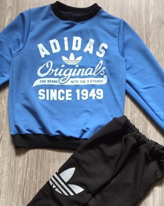 Спортивный костюм двойка, стиль унисекс, черный, синий, серый,...