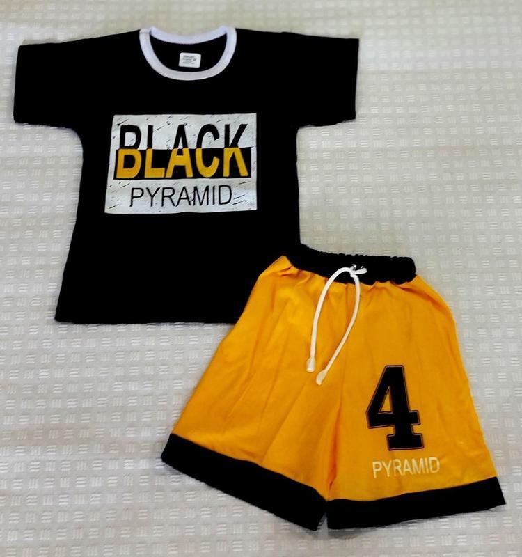 Летний костюм для мальчика, черная футболка, желтые шорты