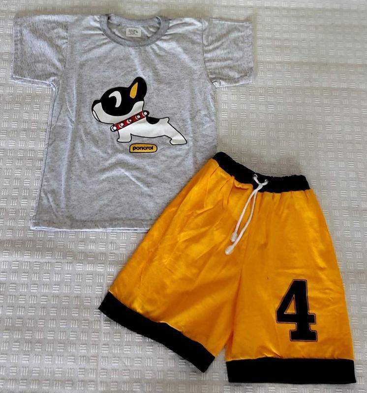 Летний костюм для мальчика, серая футболка, желтые шорты