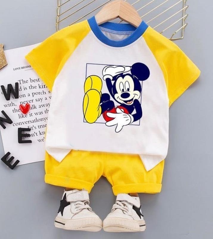 Летний костюм для мальчика микки маус, футболка шорты mickey m...