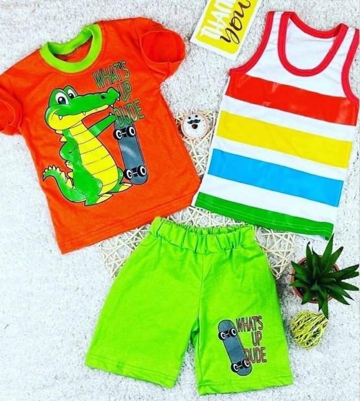 Яркий летний костюм тройка на мальчика (майка в полоску, футбо...
