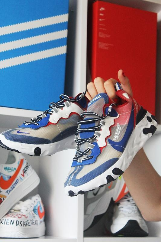Nike react element 87 gray blue red.