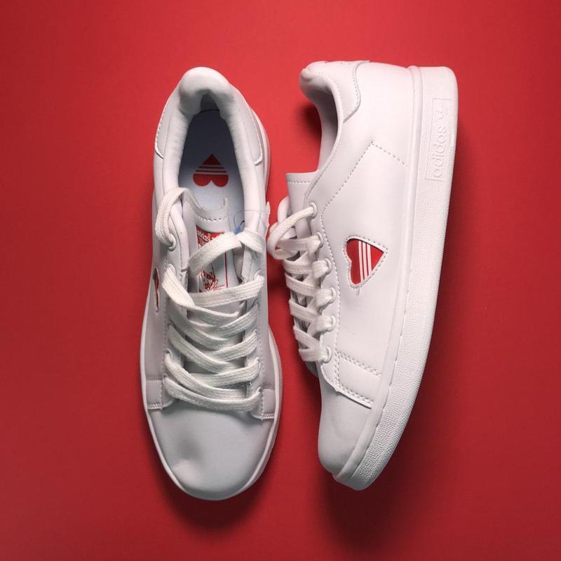 Кроссовки: adidas stan smith white red heart - Фото 4