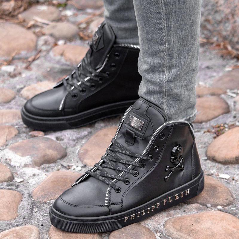 Мужские ботинки :philipp plein black (зима) - Фото 2