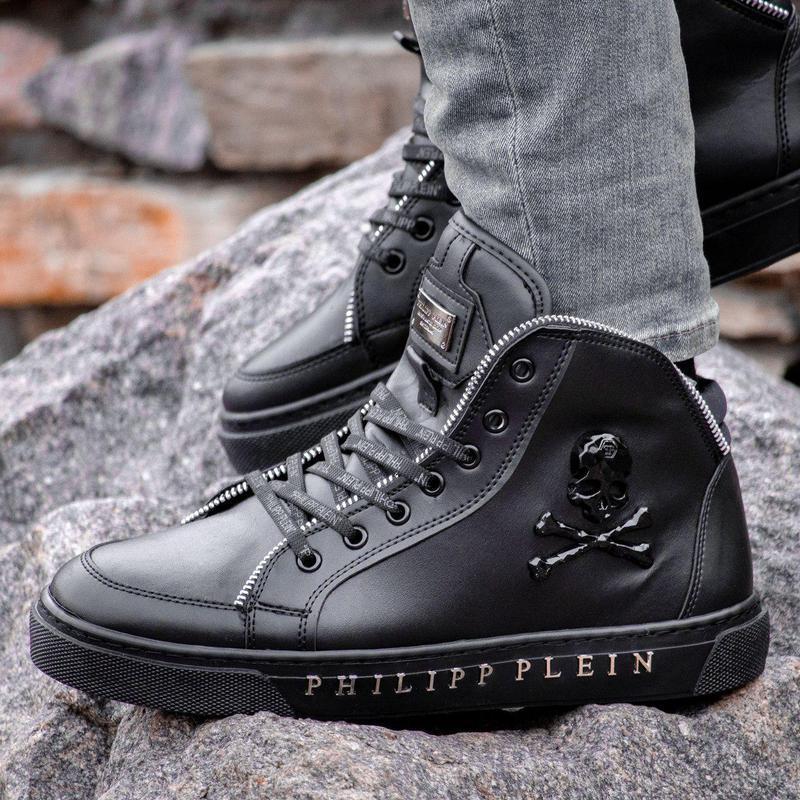 Мужские ботинки :philipp plein black (зима) - Фото 3