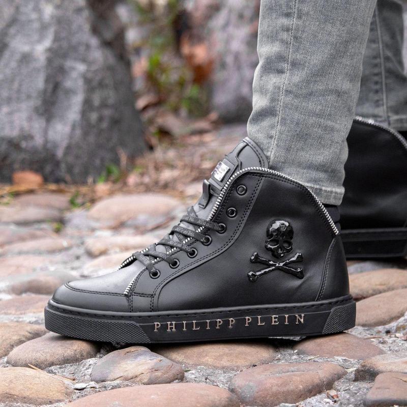 Мужские ботинки :philipp plein black (зима) - Фото 4