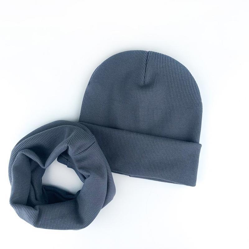 Шапка серая трикотаж рубчик осень ???? комплект набор шапка хомут...