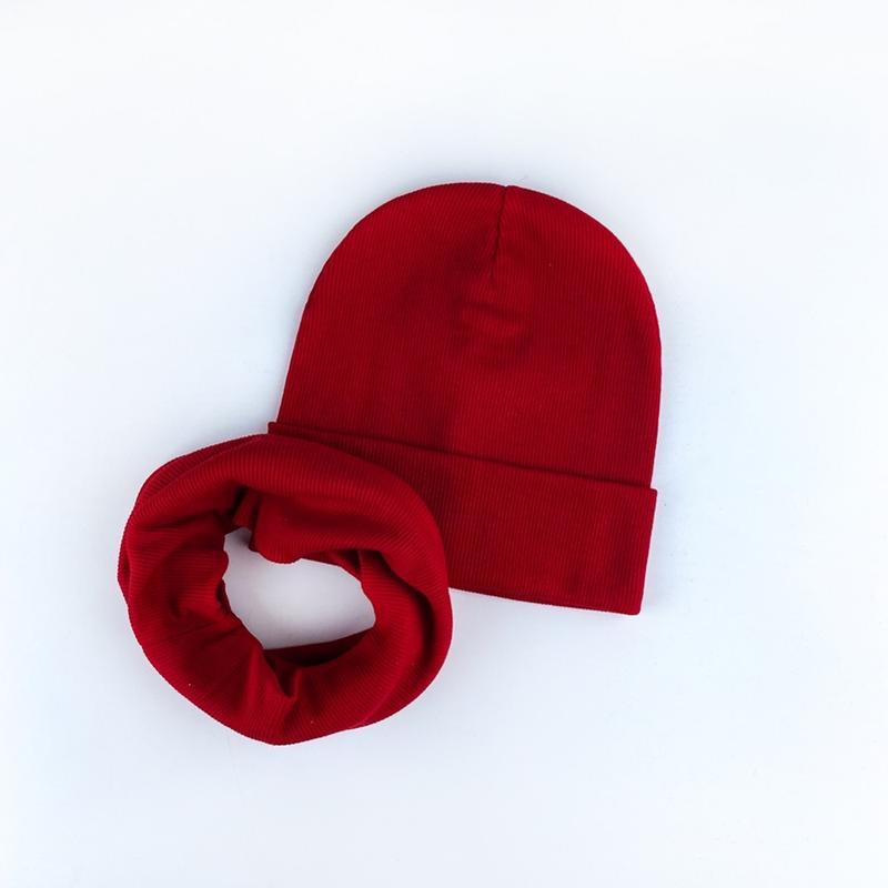 Шапка красная трикотаж рубчик осень ???? комплект набор шапка хом...