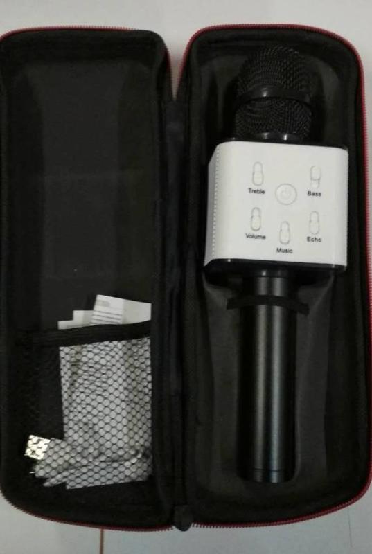 Караоке-микрофон Q7 с динамиком с чехлом, Черный - Фото 3