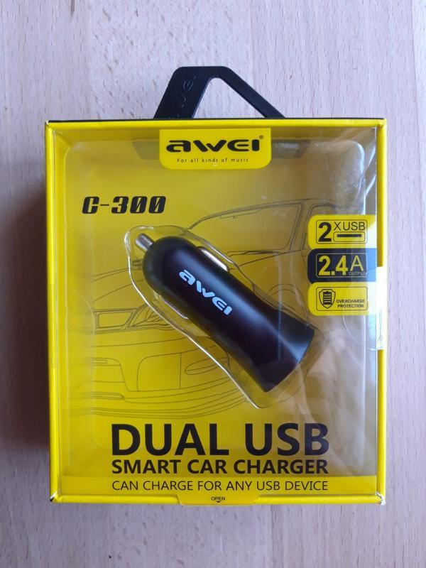 Автомобільний зарядний пристрій Awei C-300 Car Charger Black - Фото 2