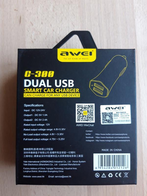 Автомобільний зарядний пристрій Awei C-300 Car Charger Black - Фото 3