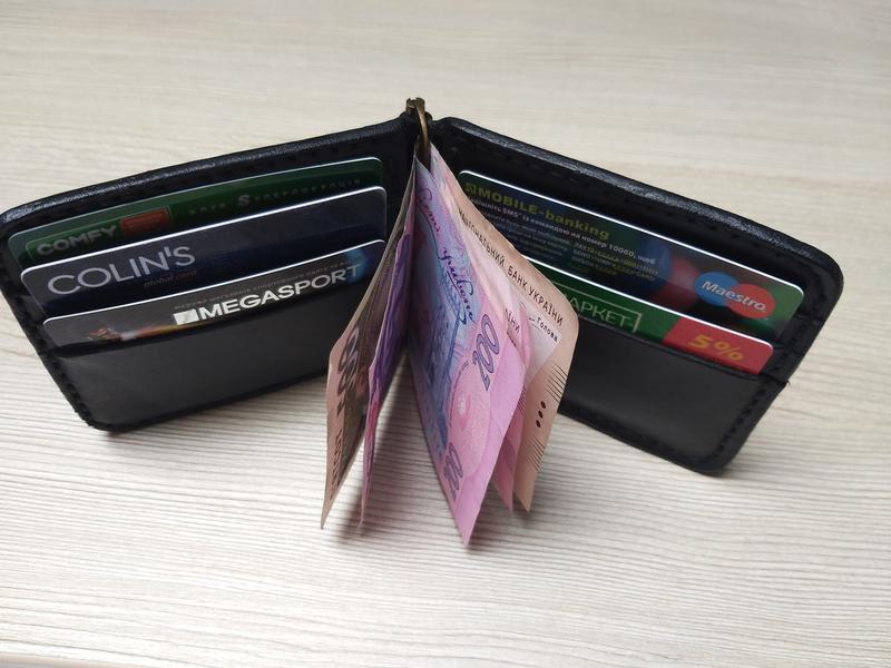 Кожаный зажим для денег ручной работы art.001 - Фото 4