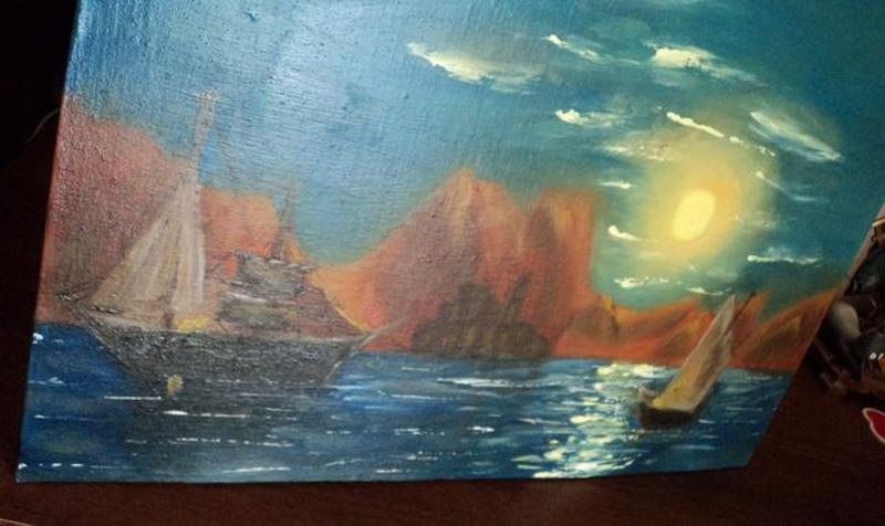 """Картину Маслом """"Лунная дорожка"""", холст 24х37. Авторская"""