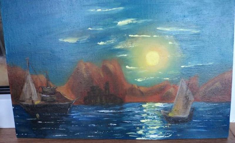 """Картину Маслом """"Лунная дорожка"""", холст 24х37. Авторская - Фото 2"""