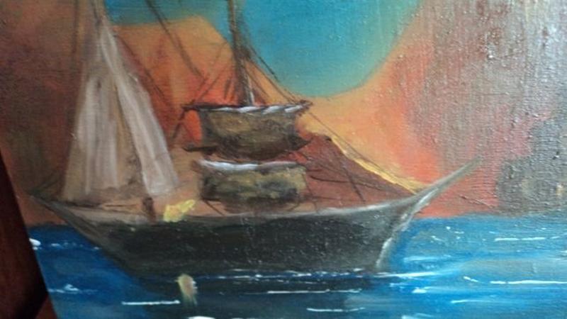 """Картину Маслом """"Лунная дорожка"""", холст 24х37. Авторская - Фото 3"""