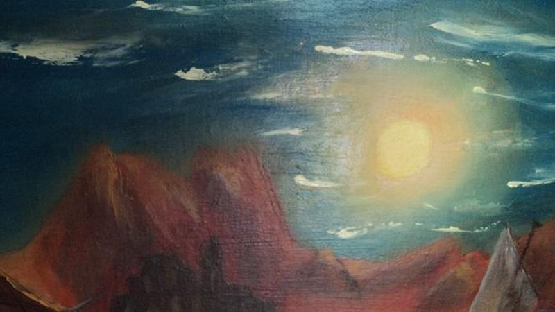 """Картину Маслом """"Лунная дорожка"""", холст 24х37. Авторская - Фото 4"""