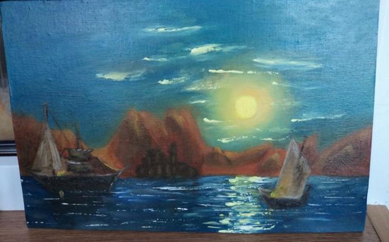 """Картину Маслом """"Лунная дорожка"""", холст 24х37. Авторская - Фото 5"""