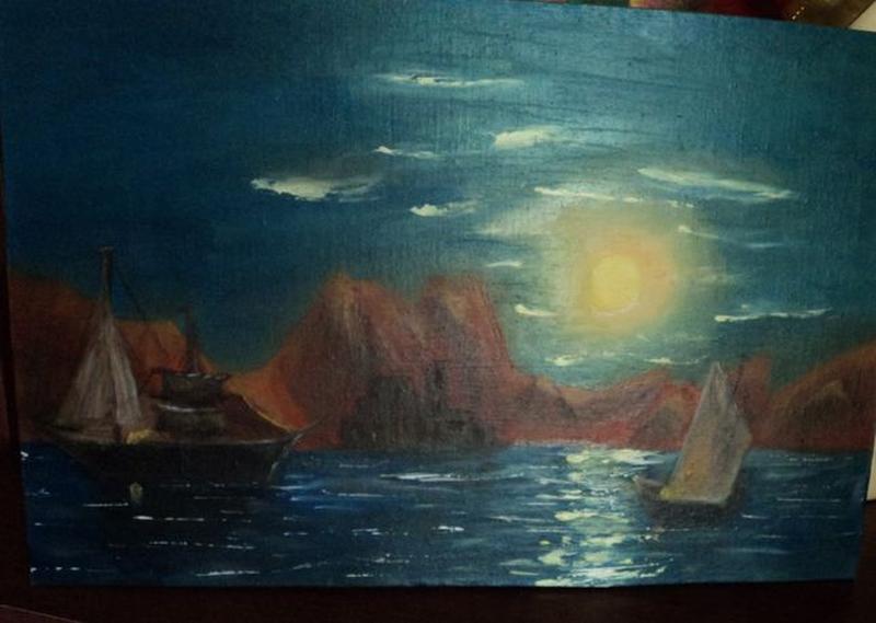 """Картину Маслом """"Лунная дорожка"""", холст 24х37. Авторская - Фото 6"""