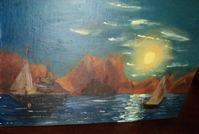 """Картину Маслом """"Лунная дорожка"""", холст 24х37. Авторская - Фото 7"""