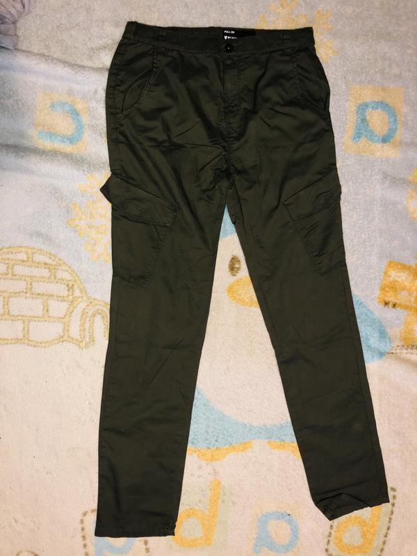 Штаны , брюки , с карманами , зелёные