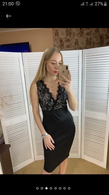 Женское вечернее нарядное кружевное черное платье футляр клубн... - Фото 7