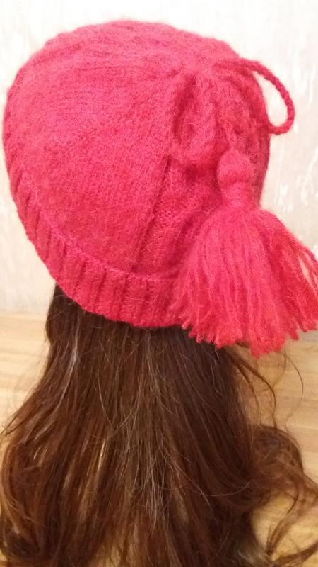 Шапочка из альпаки ручной работы. цвет: красный. размер: m-l. - Фото 2