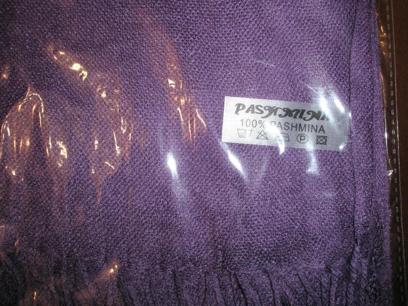 Палантин сиреневый 100% пашмина - Фото 5