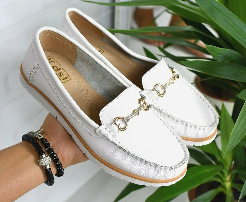 Мокасины белые туфли из натуральной кожи