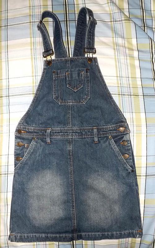 Юбка комбинезон джинсовая, rainbow - Фото 2