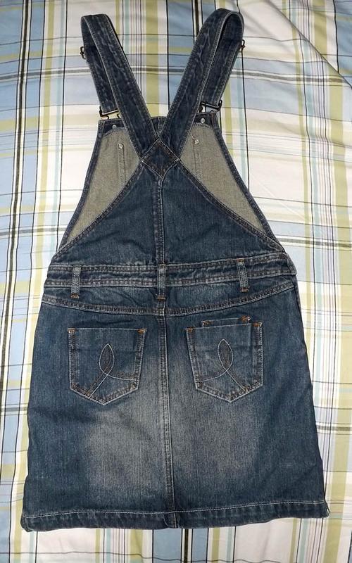 Юбка комбинезон джинсовая, rainbow - Фото 3