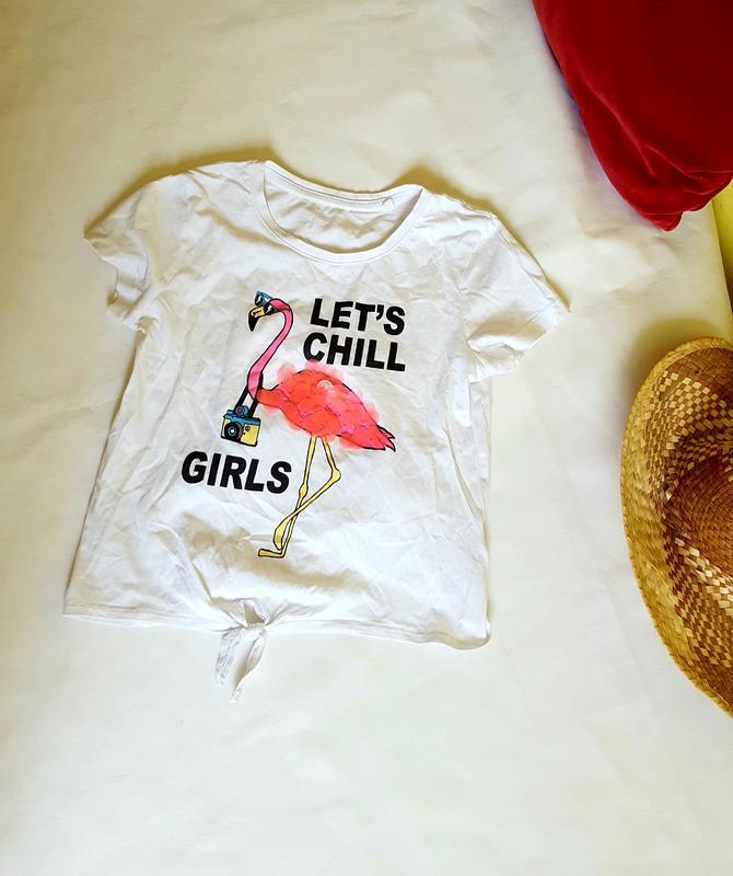 Белая футболка с рисунком на девочку 9-10 лет