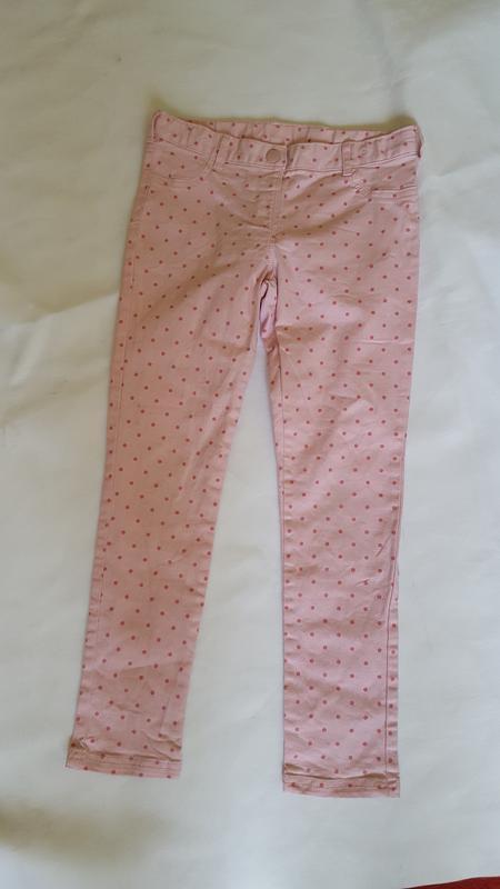 Розовые джинсы в горошек на девочку 9-10 лет с утягивающими ре...